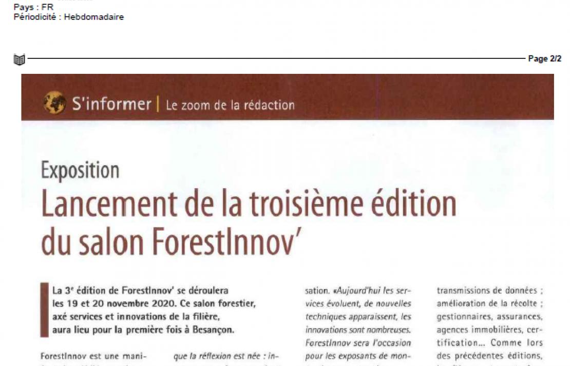 LE BOIS INTERNATIONAL parle de ForestInnov 2020